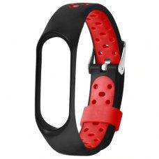 Браслет-ремешок силиконовый с перфорацией для Xiaomi Mi Band 5 Черно-красный