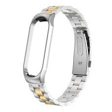 Металлический ремешок для Xiaomi Mi Band 4 Серебро с Золотом