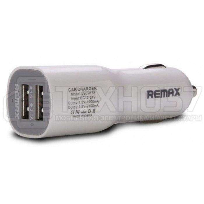 Автомобильное ЗУ Remax 2USB 2.1A Car Charger RCC201 White