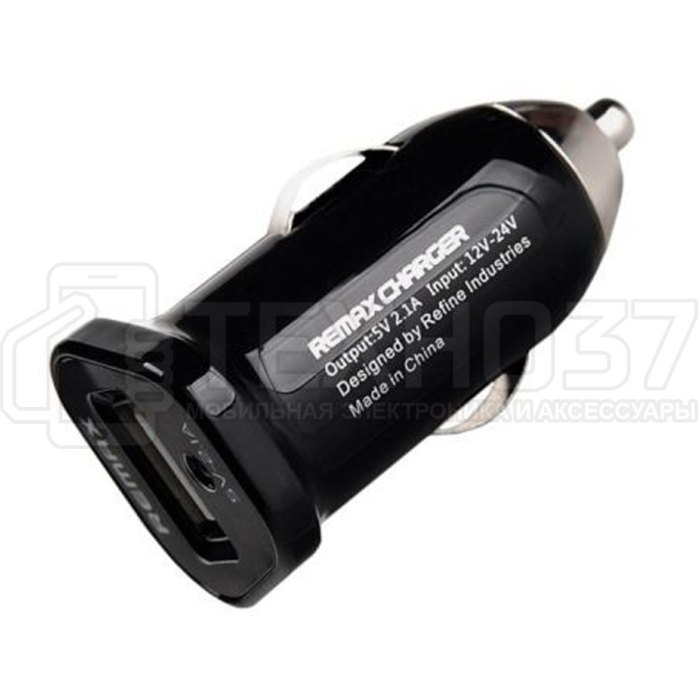 Автомобильное ЗУ Remax Single USB 2.1A Car Charger RCC101 Black