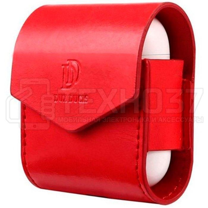 Кожаный чехол Dux Ducis для Apple AirPods Красный